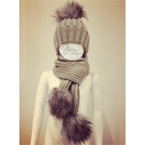 Grey Ellis Fur Pom Hat & Scarf Set