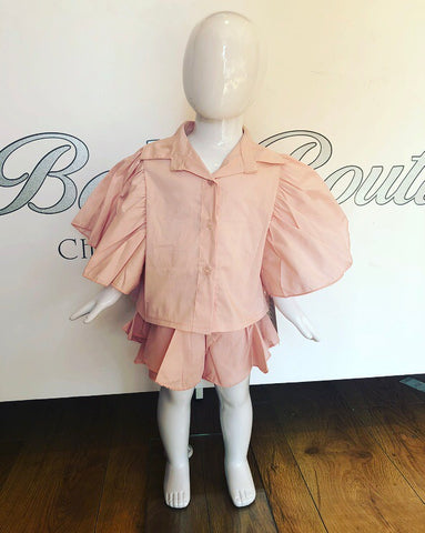Pink Vienna Bow Back Shirt & Shorts Set