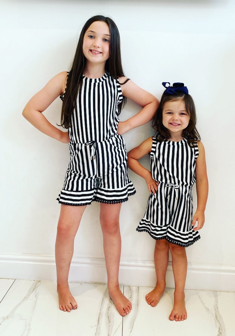 Black Lola Striped Playsuit