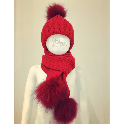 Red Ellis Fur Pom Hat & Scarf Set