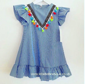 Blue Tassel Frill Dress