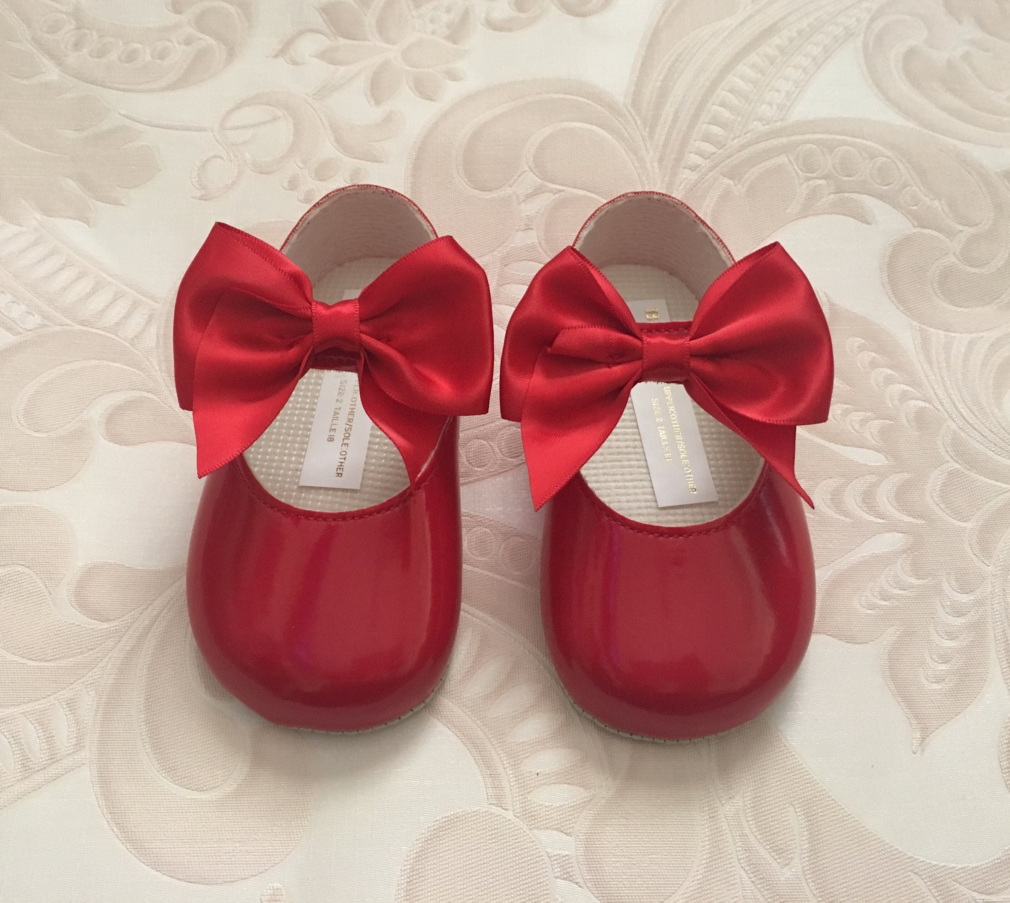 Red Alessia Bow Pram Shoes