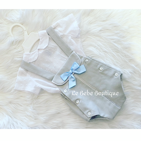 Grey Bowie Romper & Shirt Set