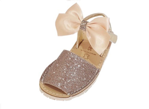 Camel Shiny Glitter Spanish Bow Leather Sandals