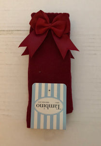 Burgundy Double Bow Knee Socks
