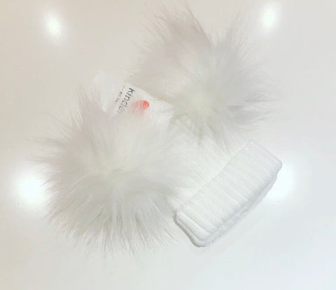 White Double Fur Pom Pom Hat
