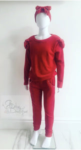 Red Lexie (Velour) Tracksuit with Headband