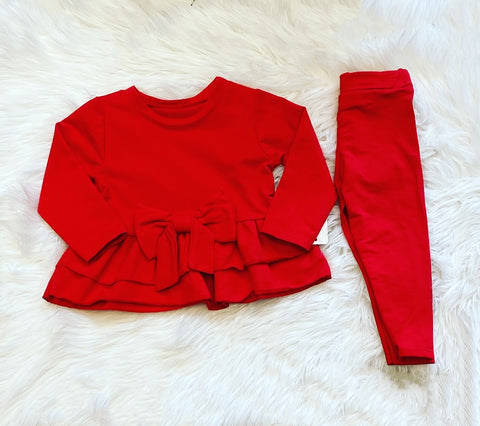 (Baby Sizes) Red Melony Bow Leggings Set