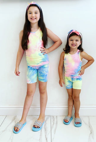 Pink/Blue Ambra Shorts Set with Headband