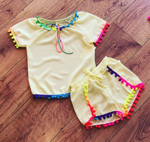 Yellow Lila Pom Pom Shorts Set