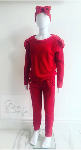 Red Perla Tracksuit with Headband