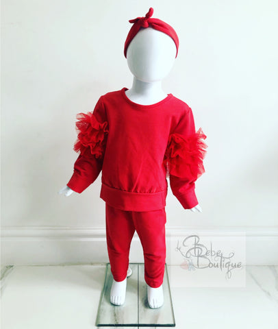 (Baby Sizes) Red Selene Ruffle Tracksuit