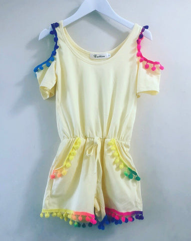 Yellow Pom Pom Playsuit
