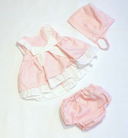 Pink Bella Dress, Pants & Bonnet Set