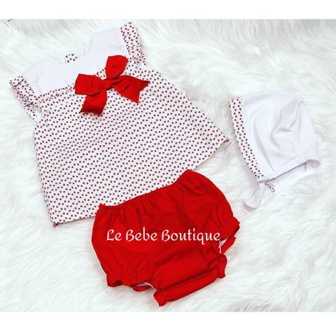 Delfina Dress, Pants & Bonnet Set