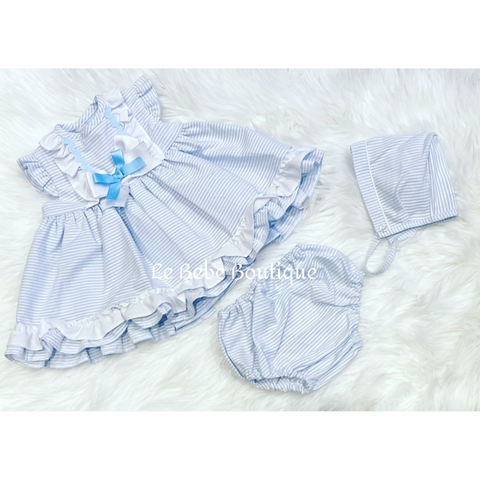 Blue Striped Ruffle Lalia Dress, Pants & Bonnet Set