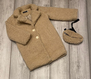 Camel Teddy Coat with Bag