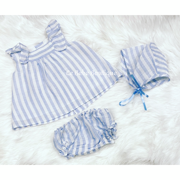 Blue & White Striped Jayla Dress, Pants & Bonnet Set