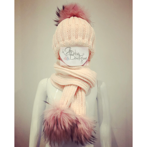 Pink Ellis Fur Pom Hat & Scarf Set