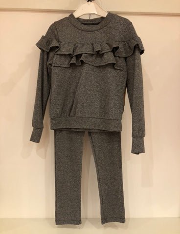 Silver Glitter Frill Tracksuit