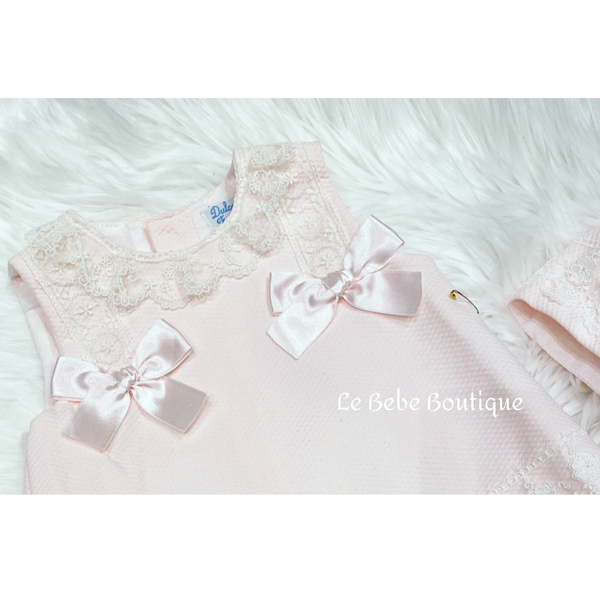 Pink Dolcia Dress, Pants & Bonnet Set