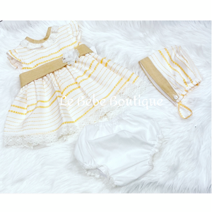 Isabella Dress, Pants & Bonnet Set