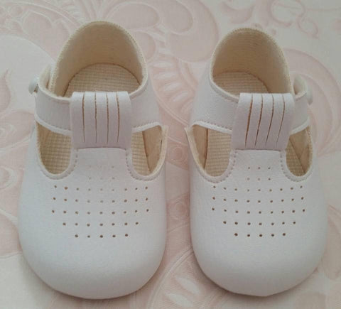 Baypods - White Harry TBar Pram Shoes
