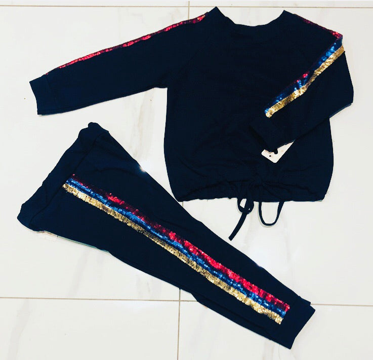 * SOLD OUT * Navy Lacey Glitter Stripe Tracksuit