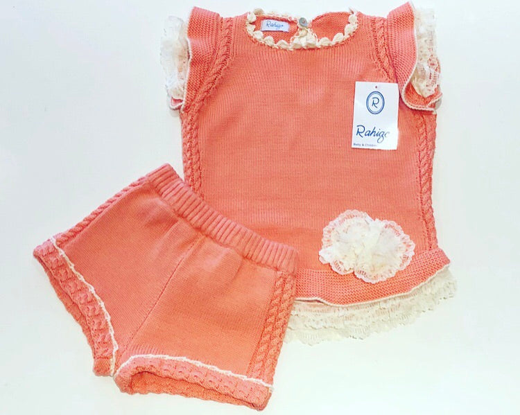 Rahigo Coral/Cream Knitted Shorts Set