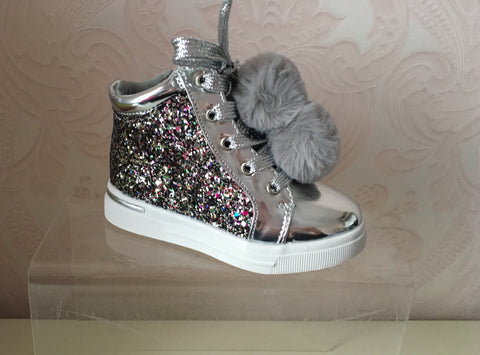 Silver with Multi Glitter Pom Pom High Tops