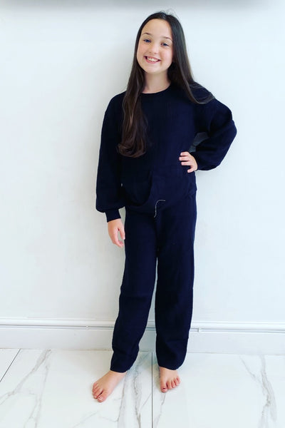 Black Lucia Knitted Style Tracksuit