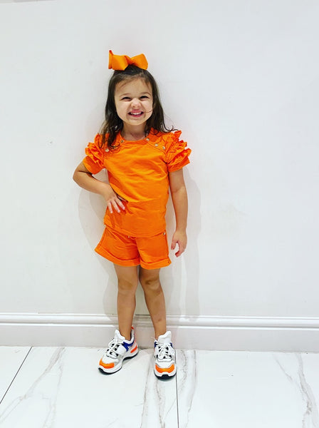 Orange Estela Shorts Set