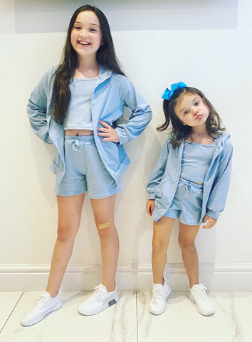 Blue Sicily 3 Piece Shorts Set