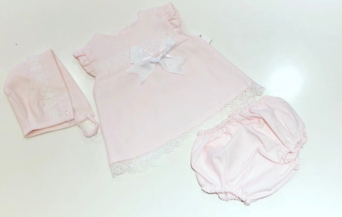 Sofia Dress, Pants & Bonnet Set
