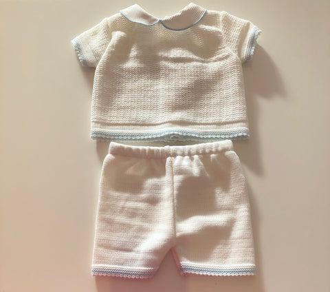 White David Knitted Shorts Set
