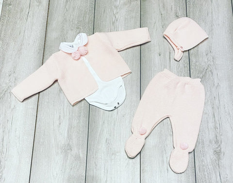Pink Elya Pom Pom 3 Piece Knitted Set
