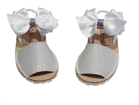 White Shiny Glitter Spanish Bow Leather Sandals