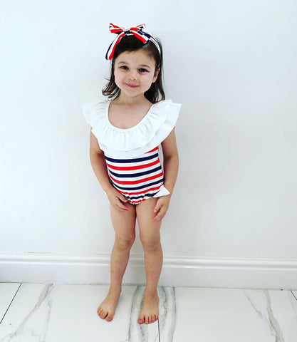 Malina Striped Swimming Costume & Headband