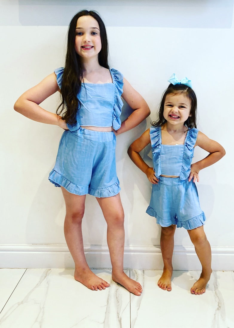 Blue Cataleya Bow Back Shorts Set