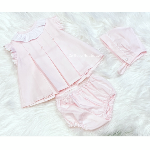 Pink Maila Dress, Pants & Bonnet Set