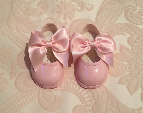 Pink Bow Alessia Hard Sole Shoes
