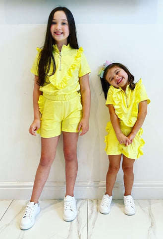 Yellow Eloisa Ruffle Shorts Set