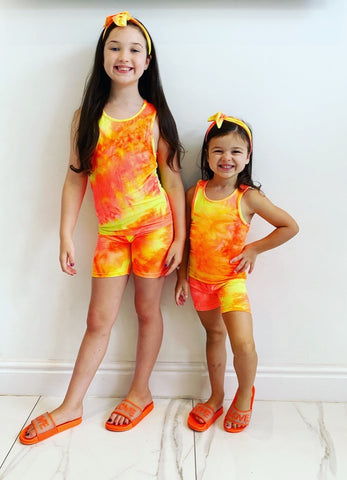 Orange Ambra Shorts Set with Headband
