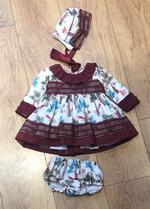 Nayara Dress, Pants & Bonnet Set