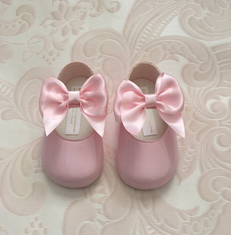Pink Alessia Bow Pram Shoes