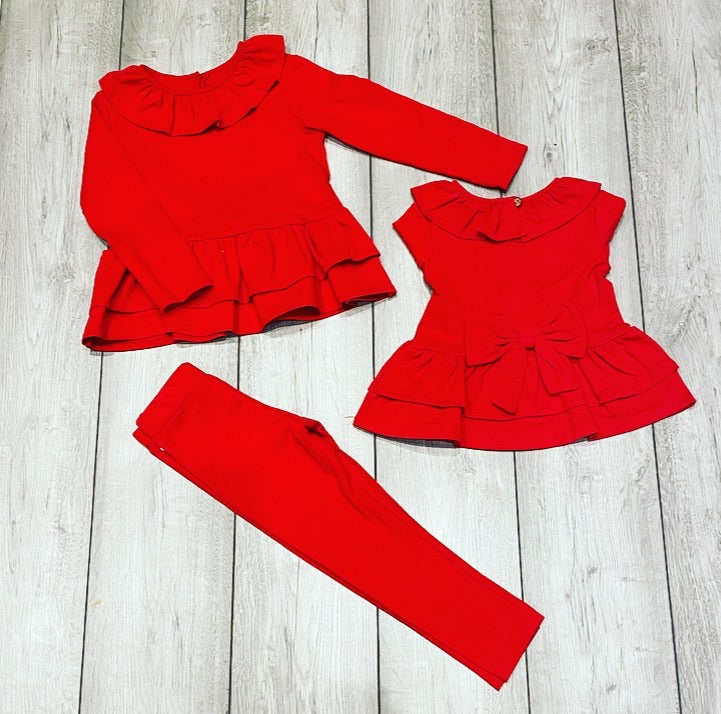 Red Roslyn Bow Back Leggings Set