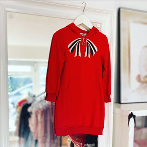 Red Sancia Bow Hoodie Dress