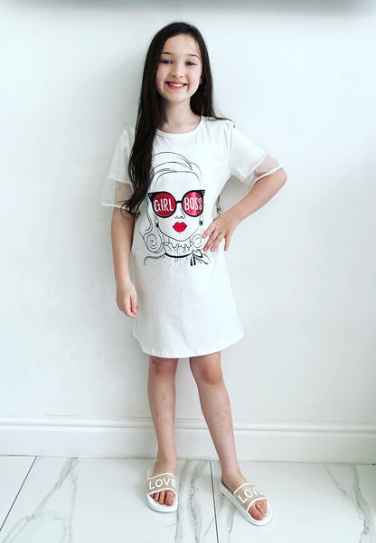 White Girl Boss TShirt Dress