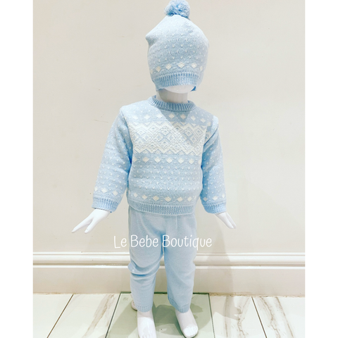 Blue Dejah 3 Piece Knitted Pants Set