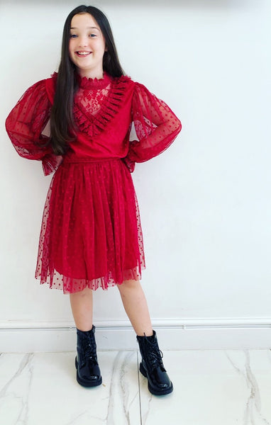 Red Lilia Spotted Dress